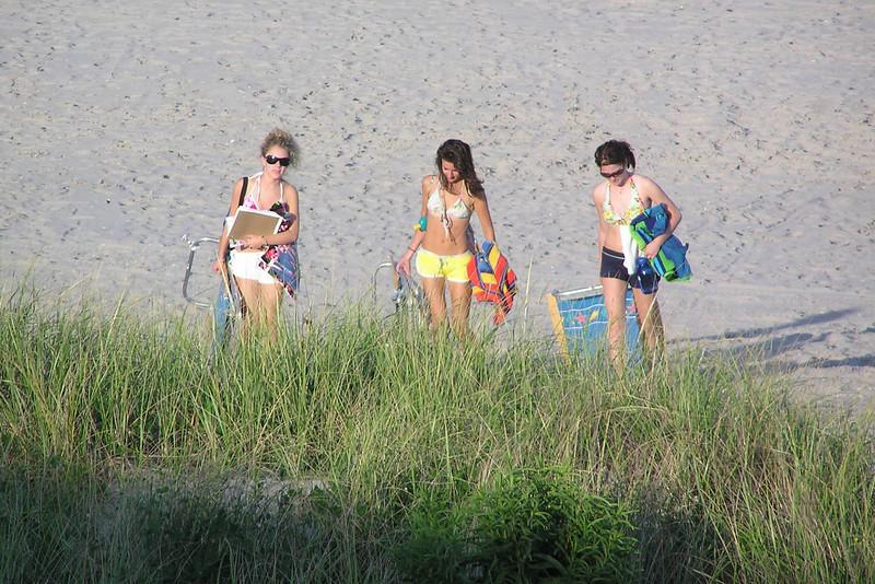 Casey, Rachel & Amber coming off of the beach.