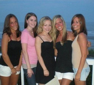 The girls on the deck in Sea Isle.Mallory Capoferri (L), Amber Staska, Casey, Melissa Moritz and Rachael Kemmey