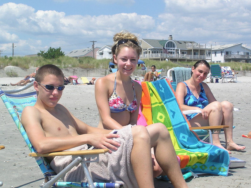 Brett, Casey and Aunt Marcy Seminoff during the Feldman family weekend at the shore. Casey was in high school.