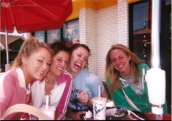 Fast food after beach cleanup - yr? Casey (L), Rachael Kemmey, Danielle DiZebba and Julianne Conway