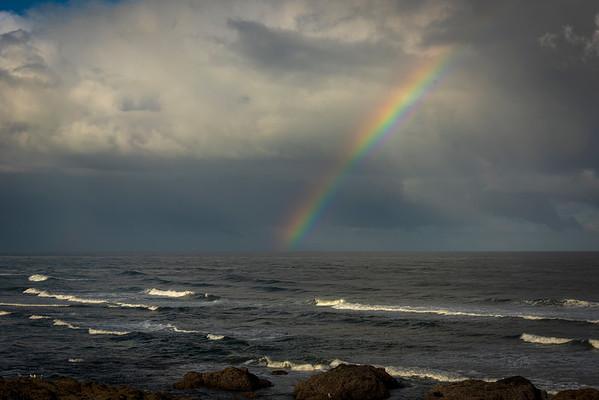 Yachats Shoreline with Rainbow