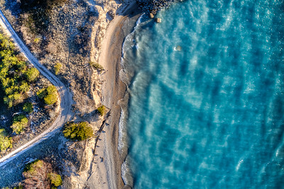 Point Betsie Beach and Road Aerial