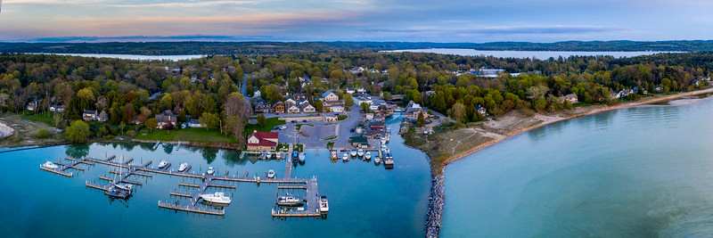 Leland Harbor Evening Aerial Panorama