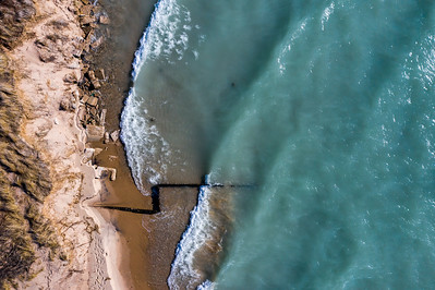 Beach and Breakwall Aerial