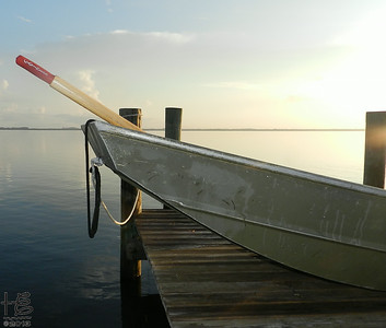 rowboat is first light of day on Sarasota Bay