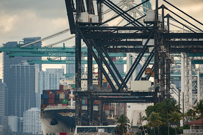 Cargo ship loaded at Port of Miami