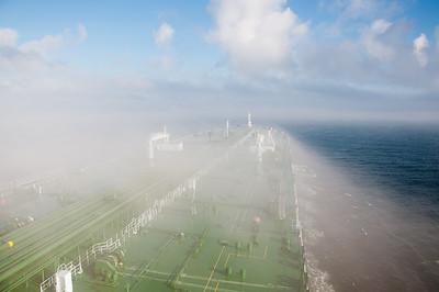 Sailing through sea mist of Korea