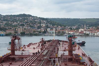 swinging off the berth at Trieste