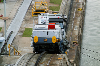 "Known as the ""mules"" these rack and pinion locos help drag you through the locks in Panama."