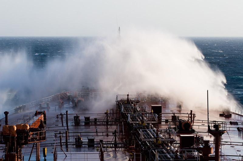 Shipping spray in the North Atlantic