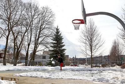 Shoveling basketball court, Feb. 21, 2017