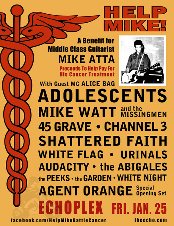 Mike Atta of Middle Class Benefit Show w/ Adolescents, Mike Watt & the Missingmen, 45 Grave, Channel 3, Shattered Faith, White Flag, Urinals, Audacity, The Abigales, The Peeks, The Garden. Special opening set with Agent Orange and Alice bag as your MC at The Echoplex - Los Angeles, CA - January 25, 2013