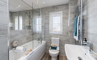 Interior and exterior showhome architectural photography of The Dunbar house type at Barratt Homes Caisteal Gardens development in Winchburgh