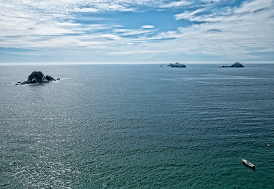 Offshore Islands - Aerial View.  Playa El Palmar, Ixtapa, Mexico.