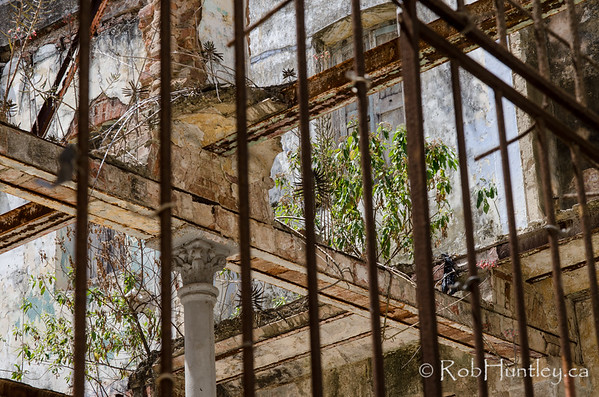 Derelict behind bars.