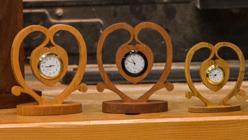 Susan Sevedge had several attractive clocks she made.  Mar 2014