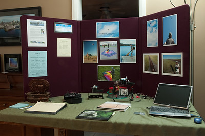 WEST 2010 display.  This is a demonstration table I set up to help me field questions about KAP (kite aerial photography) during the tour.  WEST is the West End Studio Tour which has happened annually in Ottawa for the past 15 years.  For more information visit www.westendstudiotour.ca/  Also see my blog: robhuntley.wordpress.com/2010/09/20/my-photo-gallery-duri...