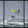 Pro windsurfer Marc Pare-Rico having to bale-out mid forward loop in storm force winds of hurricane Ophelia, Tiree, October 2017