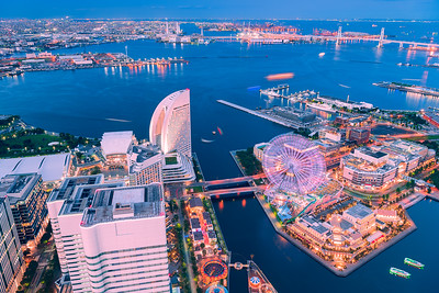 Aerial view of Yokohama Minato Mirai 21 at twilight