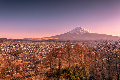 Beautiful view of Mount Fuji and Fujiyoshida city