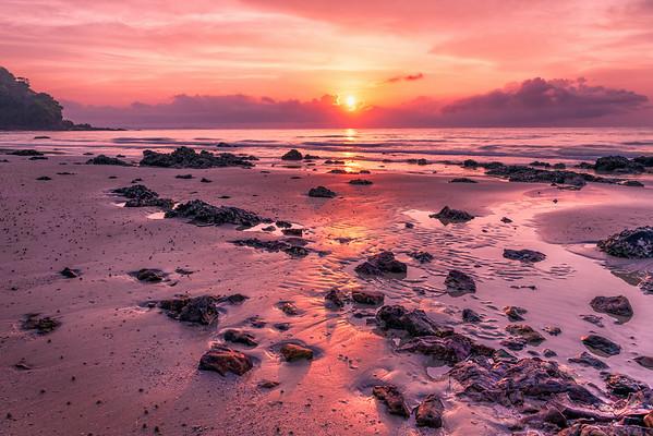 Beautiful sunrise at Rayong beach, Thailand