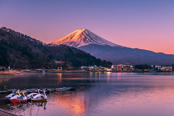 First Light Hitting the Summit of Mount Fuji at Lake Kawaguchi