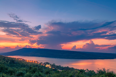 Beautiful sunset over lake at Lam Ta Khong Reservoir
