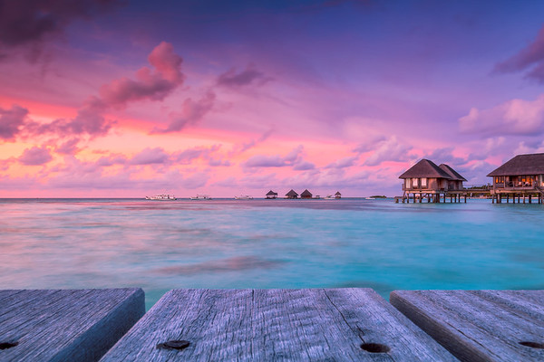 Wonderful twilight time at tropical beach resort in Maldives