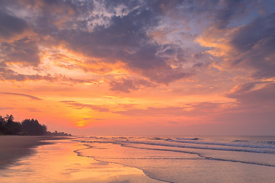 Dramatic Sunrise Over The Sea at Rayong Beach