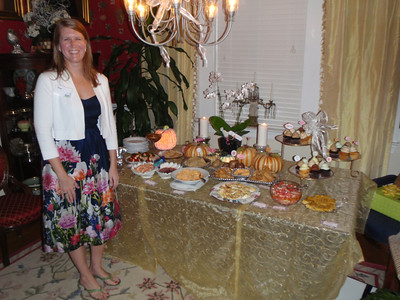 Kris at the beautifully decorated food table