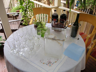 Beverages served on the patio.