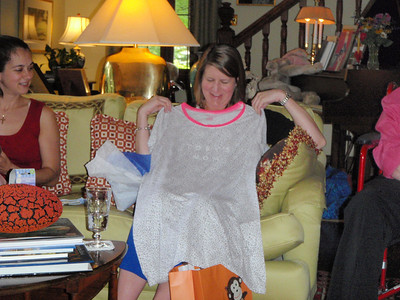 """Jenny's loungewear gift adorned with """"Toby's Mom""""."""