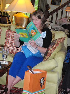 Kris reads part of the SEE TOBY SHINE book aloud.