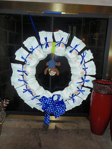 Winters brought a decorative wreath made of tiny diapers!