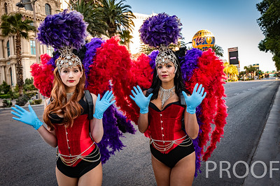 Showgirls On the Las Vegas Strip During the Coronavirus Covid-19 quarantine shut down