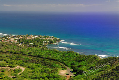 Looking from Diamond Head in Waikiki looking into the saphire blue Pacific Ocean