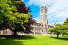 Clocktower of University of Otago Registry Building in  Dunedin, New Zealand