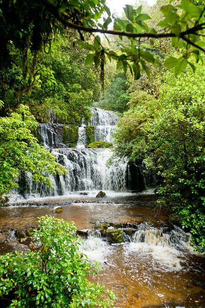 Cascading waterfall on the Purakaunui River in the South Island of New Zealand