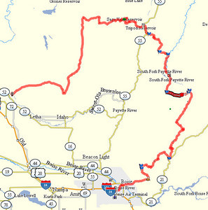 Overview of the 180 mile route.