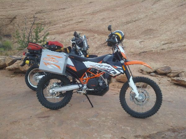"""KTM 690 with Happy Trails Owyhee 6"""" Pannier kit, Riding the Slick Rock trail with a loaded bike was challenging, DRZ 400 in background, note that tool tube inside the Happy Trails SU Rack."""