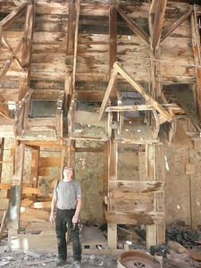 Ken inside the remains of the Cashin Mill