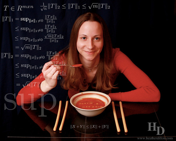The soup norm (aka Sup norm or Suprema norm). Also the triangle inequality carefully formed from alphabet soup.