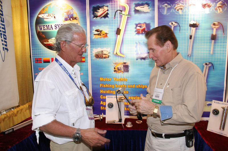 "The show also featured hundreds of vendors with all types of products both related to boating and/or just plain interesting and unique.  Here I am talking to Dieter Marker of  <a href=""http://www.wemausa.com"">WEMA-SYSTEM.</a>  He manufactures stainless steel senders for liquid holding tanks including fuel systems.  An integral sliding float makes this unit light years ahead of any other senders on the market and they only cost a couple of bucks more than all the other junk on the market.  My gas gauge still doesn't work right so I am going to change to one of these senders in the near future."