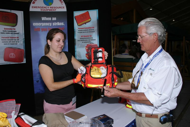 "<p>This is Deena Rhoades of  <a href=""http://www.worldprep.com"">World Prep inc.</a>  They manufacture totally self contained emergency kits.  These kits contain medical, safety and survival gear in one orderly compact unit.  It comes in various sizes for the proper application in small or large boats.  The price is very reasonable."