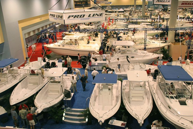 The Miami Boat Show is one of the largest in the world.  This is the view from the Skywalk and it is only one small part of the show.  Every boat imaginable was on display at the Miami Convention Center.  There were also two other venues of in water boats, one for power and one for sail.  There were vessels up to 165 feet and worth $25 million that were open for viewing.