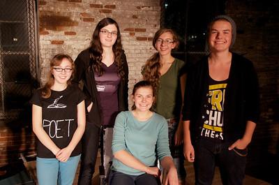 Seated: Abby Kuhlmann, author of THE JOURNEY TO MADRID Standing: Molly Kiley, director Michaela Schultz, Rebekah Novinger, Noah Pearson