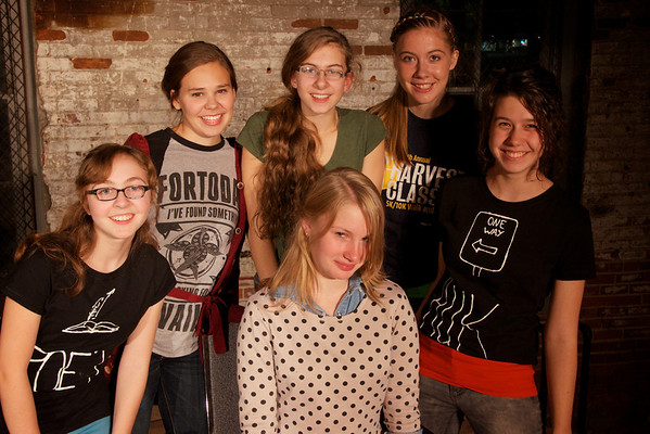 Seated: Mary Jo Schirger, author of MISINTERPRETATIONStanding: Molly Kiley, director Abby Slater, Rebekah Novinger, Ashley Harding, and Maria Wendt