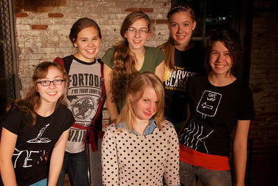 Seated: Mary Jo Schirger, author of MISINTERPRETATION Standing: Molly Kiley, director Abby Slater, Rebekah Novinger, Ashley Harding, and Maria Wendt