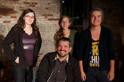 Seated: J. Merrill Motz, author of LIKE A RECORD BABY Standing: Director Michaela Schultz, Rebekah Novinger, and Noah Pearson