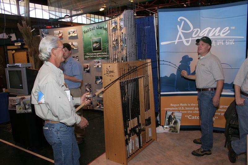 "<p>I stopped by the Rogue Rod booth to talk to Joe Kennedy, the Northeast Rep for <a href=""http://www.roguerods.com/"">Rogue</a>. I will be working with Joe this year and promoting the Rogue line of fishing rods. They build a quality rod at a reasonable price. It is an excellent product and I look forward to trying a number of different models this year for all the types of fishing that I do.</p>"